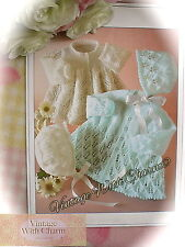 "LARGE PRINT ""Light As A Feather"" Baby Jacket & Bonnet Knitting Pattern"