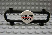 LEGO Black Barricade with Clip on Police Stop Round Road Sign