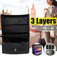 Portable Luggage System Hanging Travel Shelves 3 Layers Storage Bag Organizer AU