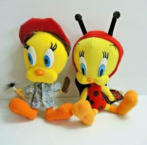 x2 Tweety Bird Soft plush toys Looney Tunes 1997 Vintage Artist Painter Ladybug