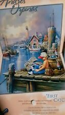 """Andres Orpina """"FIRST CATCH"""" 1000pc jigsaw puzzle Boy,dog,fishing,water,lake,boat"""