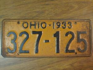 1933 Ohio License Plate #327-125