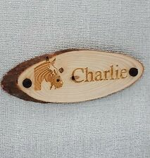 Solid Oak Personalised Horse Name Plaque Stable Door Wooden Laser Engraved