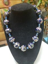Vintage Sterling Cloisonne Beaded Necklace
