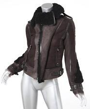 Belstaff Womens Brun + Noir Lerryn Shearling Cuir Motard Moto Veste 38/S NEUF