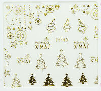 ddChristmas GOLD Xmas Tree Hanging Bauble Snowflake 3D Nail Art Sticker Decal UV