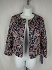 Pendleton Jacket Size 6 Blue Pink Floral Paisley Open Front Long Sleeve New