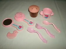 Lot of Doll Accessories ~ Brush Mirror Comb Cups Spoons & Fork ~ Child ~ Toys