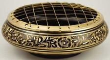 Round Floral Brass Screened Incense Burner  ~  Magick Wicca Pagan