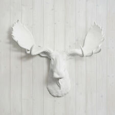 Wall Charmers Moose In White Faux Head Fake Taxidermy Plastic Animal Ceramic Art