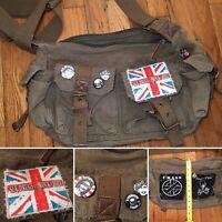 Bag Purse  Punk New Wave Canvas Messenger Bag Military Vintage Style Rock N Roll
