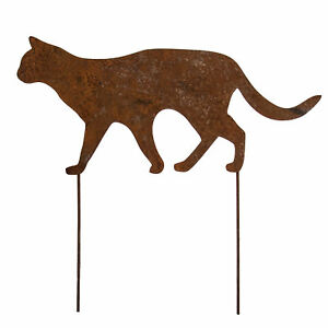 Windspiel Wippe Handarbeit Metall Rost Gartenstecker H150 I Katze jagt Mäuse