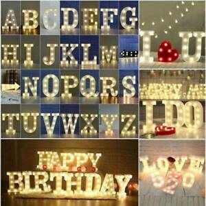 LED Alphabet Light Up Letter Lights White Plastic Letters Standing Hanging Sign