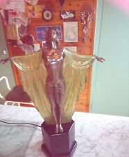ART DECO STYLE TABLE LAMP, DRAPED LADY, IN  RESIN, STUNNING WHEN LIT. 50CM TALL