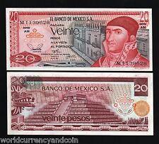 MEXICO 20 PESOS P64B 1973 PYRAMID UNC LATINO CURRENCY PAPER MONEY BILL BANKNOTE