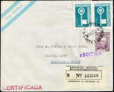 3151 Argentina To Chile Registered Air Mail Cover 1957 Buenos Aires - Santiago