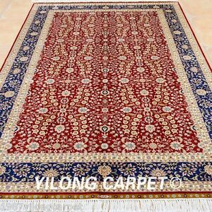 Yilong 5'x8' Classic Silk Rugs Hand Knotted Red Oriental Carpets Handmade 0199
