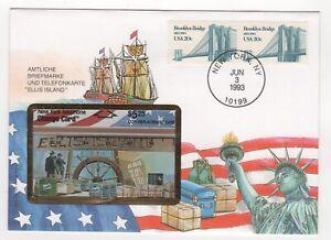 1993 USA Cover ELLIS ISLAND PHONE CARD & BROOKLYN BRIDGE SG2030 Pair