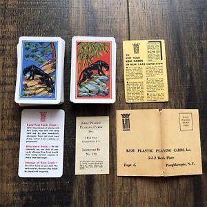 Vintage KEM Panther Playing Card Decks Bakelite Black Case Original Paperwork