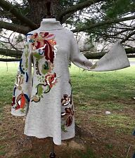 NWT Anthropologie taupy gray Embroidered Embellish Floral Swing Sweater Dress L