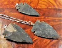 Arrowhead Necklace - Raw Black Agate Pendant - Carved Gemstone (CC15)