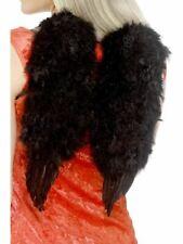 Ladies Dark Angel Feather Wings Black Fancy Dress Costume Accessory Halloween