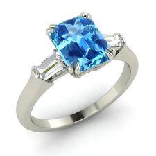 Certified 2.33 Cts Real Blue Topaz & G/VS Diamond 14k White Gold Engagement Ring