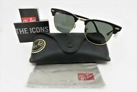 Ray-Ban Clubmaster Gold & Black Polarized Sunglasses, RB 3016 901/58 49mm wCase