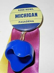 Vintage 1965 Michigan Wolverines Rose Bowl Pinback Button Football Helmet Charm