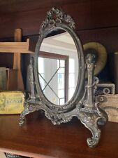 Vintage Antique Style Vanity Mirror Table Top Victorian Cast Iron Bronze Brass