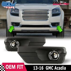 For 2013-2016 GMC Acadia Winjet OE Factory Fit Fog Light Bumper Kit Clear Lens