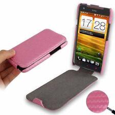 Flip Case Tasche Carbon Style in rosa für HTC One X Etui Hülle Cover Schutzcase