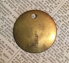"2 Vtg BLANK solid brass COW TAG 1.5""hotel room ear key fob DIY cattle patina lot"