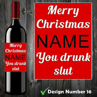Personalised Wine Bottle Label - Christmas Gift Novelty Funny Comedy Offensive