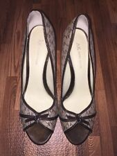 ANNE KLEIN Pointed Toe Pumps High Heels Women's Size 8.5M Textile Signature Logo