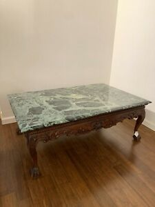 Chippendale Style Cocktail Table with Marble Top