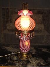 FENTON SWIRL OPALESCENT CRANBERRY GLASS GWTW LAMP