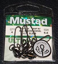 4 Pack Mustad STAY-LOCK SNAP WITH BALL BEARING SWIVEL Size 6.6 SLSBB-66