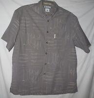 FREE SHIP Columbia River Lodge Shirt Nautical Fishing Knots Short Sleeve Pocket