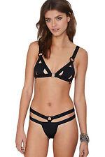 Costume Da Bagno Aperto Stringhe Anelli Mini Bikini slim Swimwear Swimsuit L