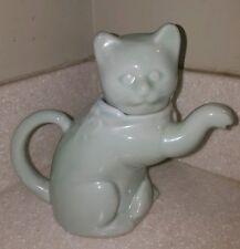 Celadon Glazed Kitty Cat Teapot Welcome Porcelain Statue c. 1970's EXCELLENT pot