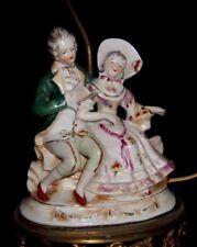 Vintage Porcelain Courting Couple Lamp Boudoir Table Accent Lamp