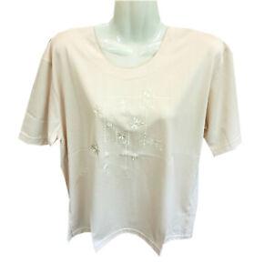 Damen Sommer T-Shirt, Kurzarm, in Beige mit Blumen Design am Brust