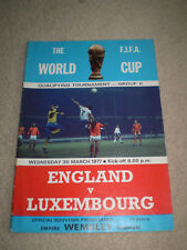FIFA World Cup Qualifying Match programme England v Luxembourg 1977