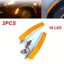 2PCS Universal Car Wheel Eyebrow Side Marker Turn Signal Indicator 18 LED Light