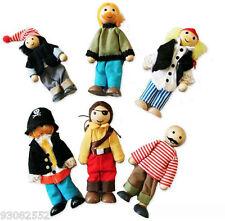 Wooden Dolls Pirate set x 6  pretend play,flexible dolls,Fun Factory