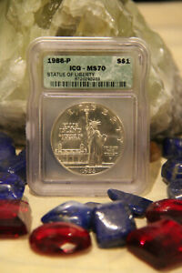 1986 P STATUE OF LIBERTY S$1 MS 70 ICG