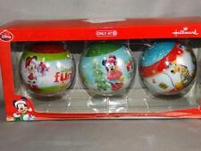 Hallmark Disney Mickey & Minnie Mouse Pluto Set of 3 Ball Christmas Ornaments