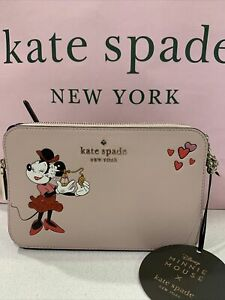 Kate Spade New York x Minnie Mouse Double-Zip Crossbody in Pale Vellum Multi