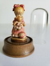 Anri Wood Carving Sarah Kay Miniature In Dome Wake Up Kiss Girl With Teddy Bear